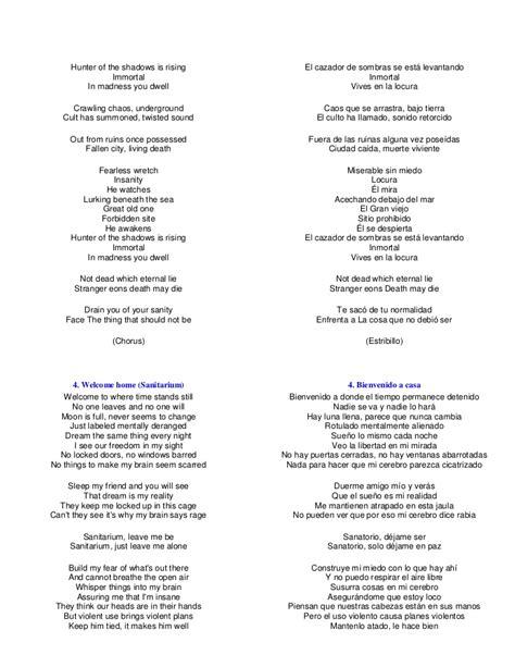 Letras master of puppets en español