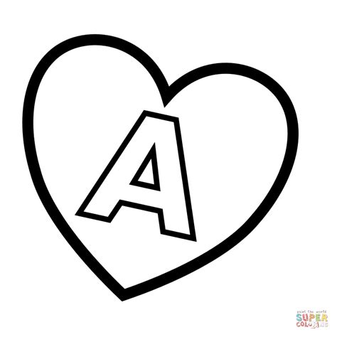 Letter A in Heart coloring page | Free Printable Coloring ...