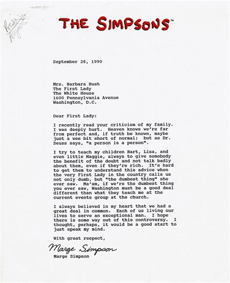 Letters of Note: With great respect, Marge Simpson