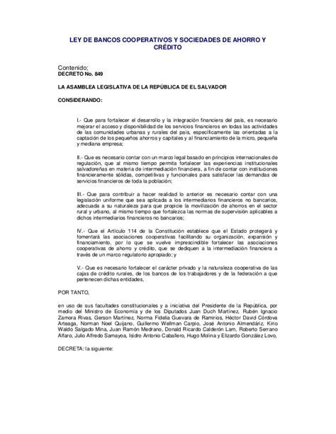 Ley De Bancos Cooperativos & Sociedades De Ahorro y Credito.