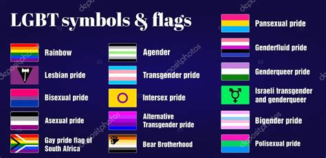 LGBT Gay flags and symbols on dark purple background ...