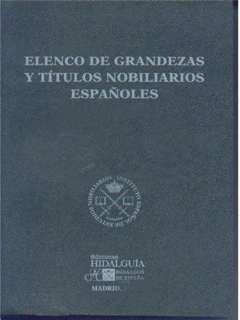 Librería Dykinson - Elenco de grandezas y títulos ...