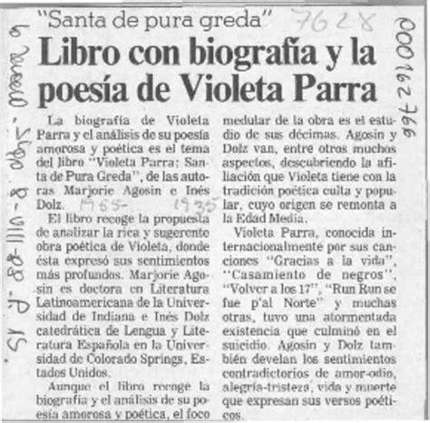 Libro con biografía y la poesía de Violeta Parra [artículo ...