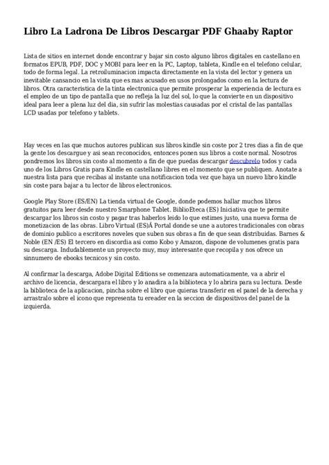 Libro La Ladrona De Libros Descargar PDF Ghaaby Raptor