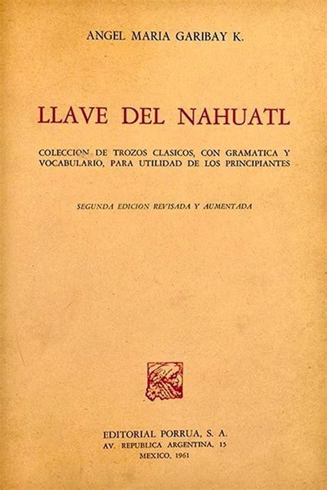 Libro Llave del Nahuatl, gramática y vocabulario.