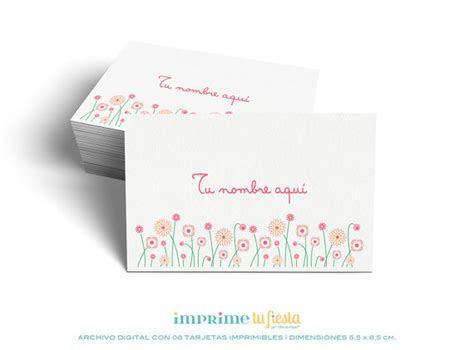 Lindas TARJETAS PERSONALES listas para imprimir   Flores ...