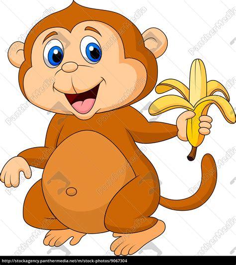 lindo de dibujos animados mono comiendo plátano ...
