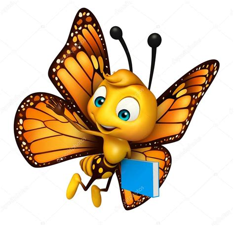 Lindo personaje de dibujos animados de mariposa con libros ...