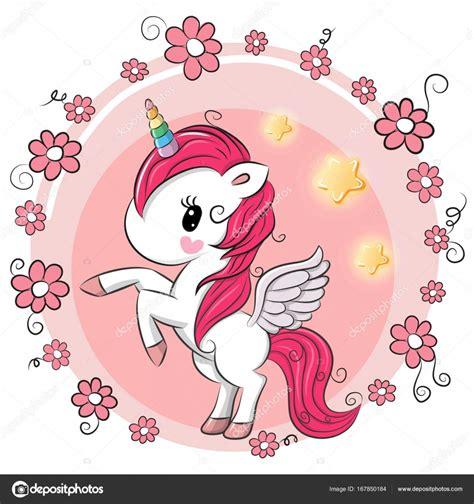 Lindo unicornio de dibujos animados con flores — Vector de ...
