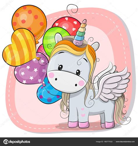 Lindo unicornio de dibujos animados con globo — Vector de ...