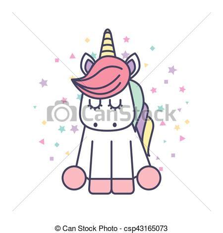 Lindo, unicornio, dibujo, icono. Lindo, ilustración ...