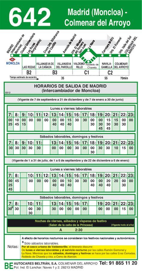 Linea 642 Madrid Moncloa  Colmenar del Arroyo Autobuses ...