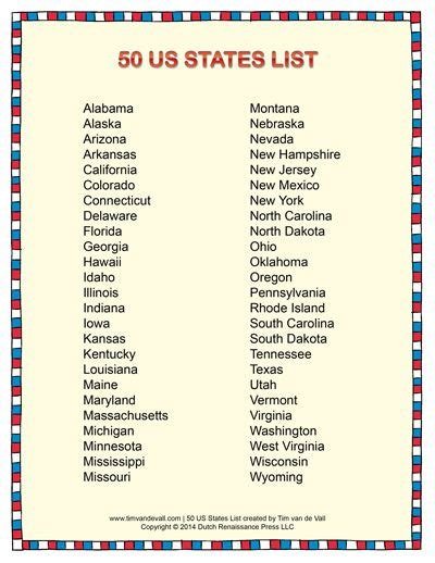 List of States in Alphabetical Order | Social Studies ...