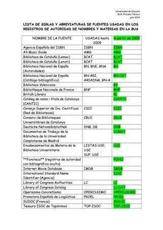 Lista de siglas y abreviaturas de fuentes usadas en los ...