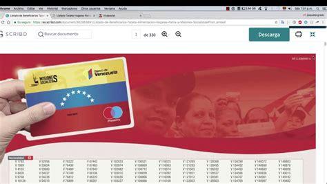 Listados por cédula Tarjeta Hogares de la Patria - YouTube