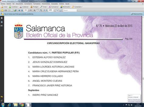 Listas candidatos Elecciones municipales 2015 - Navasfrías
