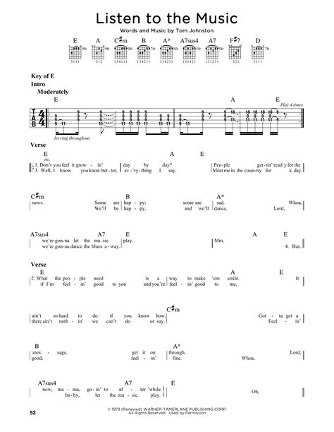 Listen To The Music Sheet Music | The Doobie Brothers ...
