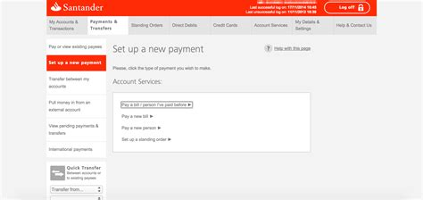 Local transfer guide using Santander online bank – Help