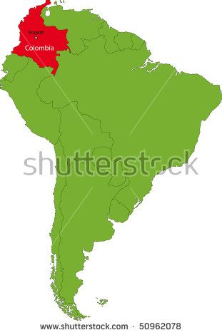 Location Of Colombia On The South America Continent Stock ...