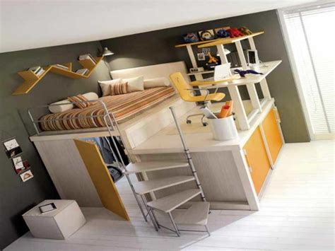 Loft Bed with Desk Underneath for College Students Full ...