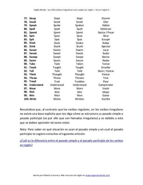 Los 100 verbos irregulares más usados en ingles ...