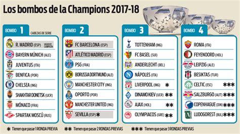 Los bombos de la Champions League 2017 18 toman forma