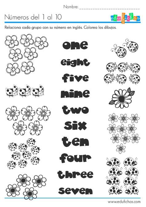 Los números en inglés. Ficha educativa para aprender inglés.