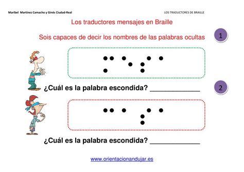 Los traductores de Braille fichas de atención -Orientacion ...