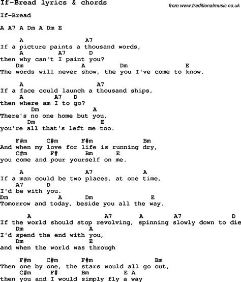 Love Song Lyrics for: If Bread with chords for Ukulele ...