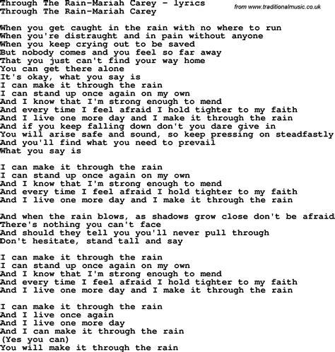 Love Song Lyrics for:Through The Rain-Mariah Carey