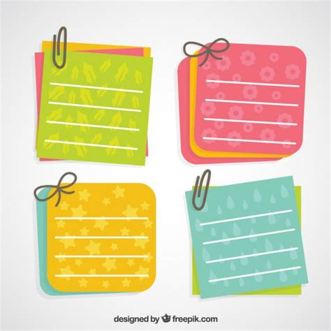 Lovely paper notes with clips Vector | Premium Download