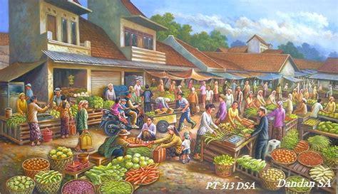 lukisan pasar tradisional – Lukisan – INDONESIA ART PAINTING