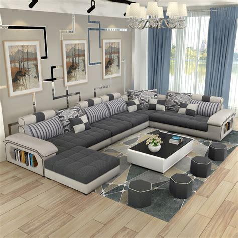 luxury living room furniture modern U shaped fabric corner ...
