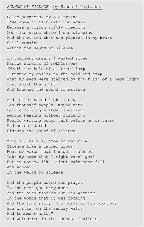 Lyrics to 'Sounds of Silence' by Simon & Garfunkel | Music ...