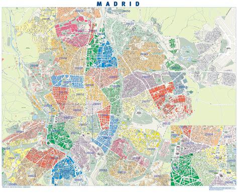 Madrid. Códigos Postales   Mapa de pared tamaño mural de ...