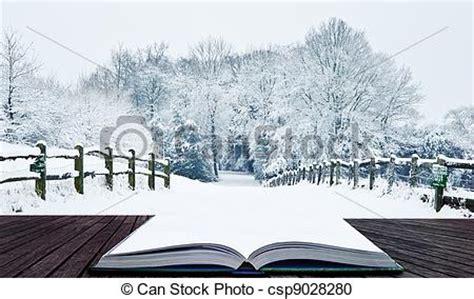 Magia, invierno, nieve, libro, mundo maravilloso, páginas ...