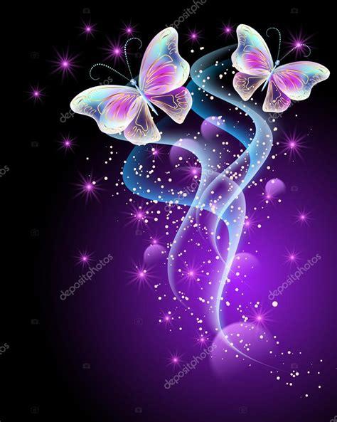 Mágicas mariposas y estrellas brillantes — Archivo ...