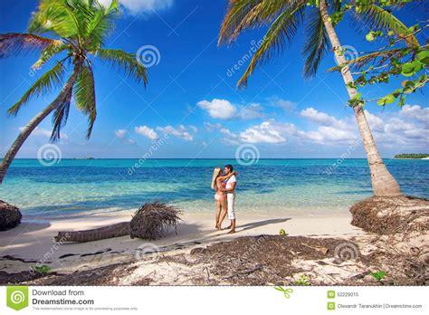 Man And Woman - Honeymoon On Tropical Island Stock Image ...