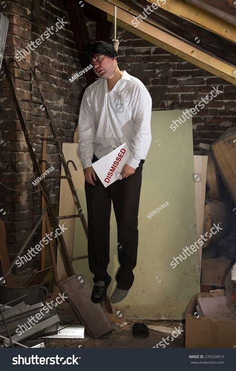 Man Hanged Attic Suicide Crisis Hanged Stock Photo ...