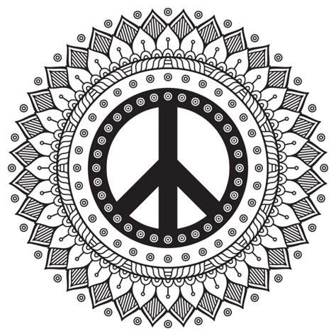 Mandala blanco y negro con el símbolo de la paz ...