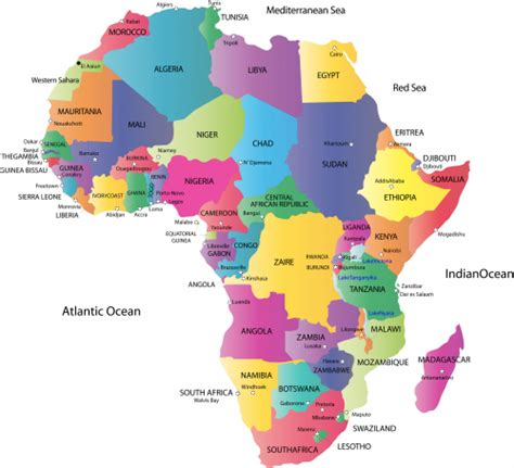 Map of Africa with Countries and Capitals | Geography map ...