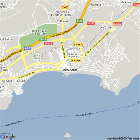 Map of Benidorm, Spain   Hotels Accommodation
