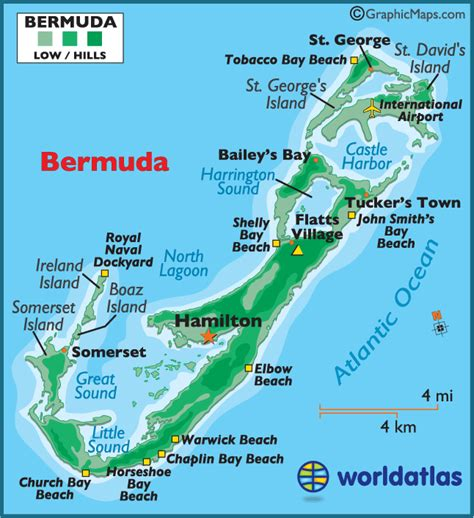 Map of Bermuda - Bermuda Map, Map Bermuda, - Worldatlas.com