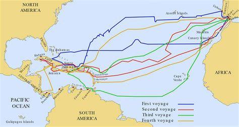 Map Of Columbuss 4 Voyages | afputra.com