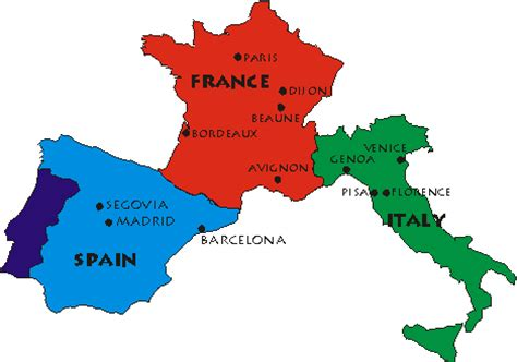 Map of france italy and spain » Travel