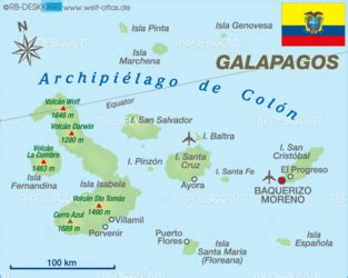 Map of Galapagos  Ecuador    Map in the Atlas of the World ...