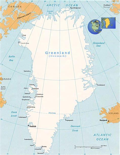 Map of Greenland - Denmark