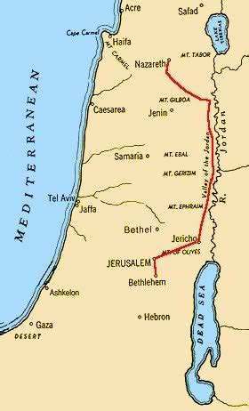 Map Of Journey Of Mary And Joseph From Nazareth To ...