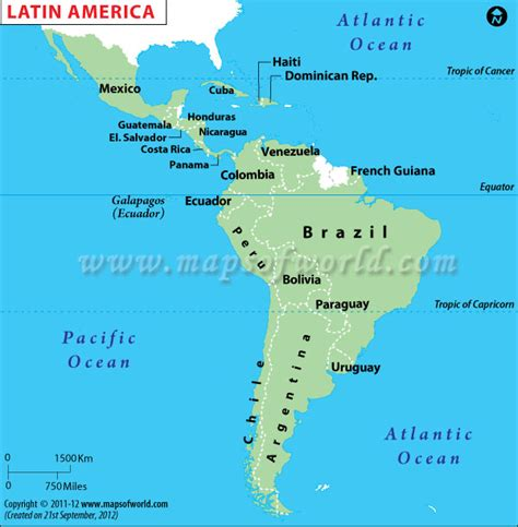 Map of latin countries