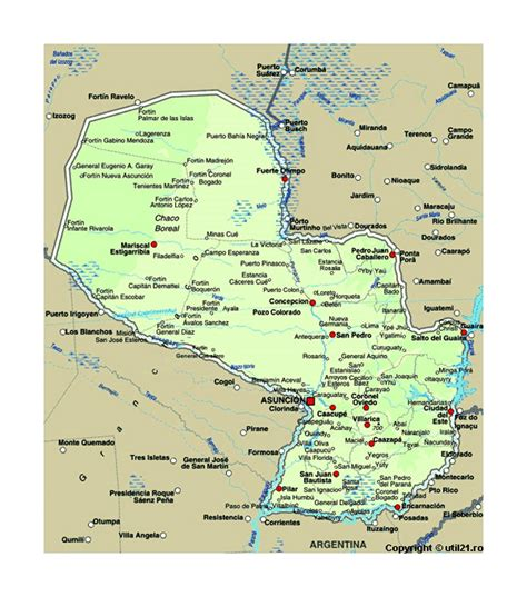 Map of Paraguay with cities | Paraguay | South America ...